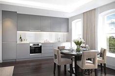Kitchen - love the grey kitchen / white glass splashback!