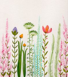 colorful garden- original watercolor- SALE