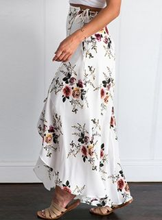 Casual High Slit Floral Printed Irregular Skirt - OASAP.com