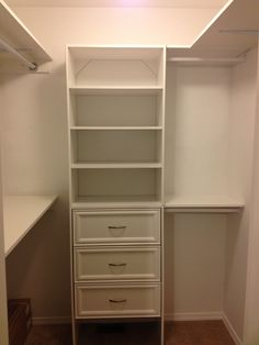 Closet organization that my husband and I done for our grandsons walk-in closet. Closet Organizer With Drawers, Closet Organization, Walk In Closet, Closet Ideas, Wardrobes, Organizers, Storage Ideas, Closets, Future House