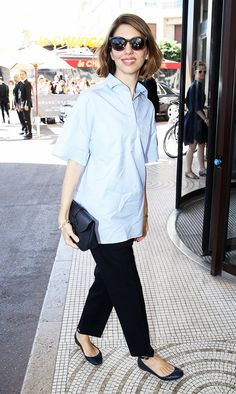 Sofia Coppola Blue Collared Shirt