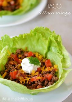 Taco Lettuce Wraps- just add more veggies than meat and go light on the cheese. You could also add black beans to this so you would use less meat or to have a vegetarian option.