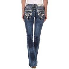 Rock Revival Pilkin B8 Bootcut in Medium Indigo Women's Clothing, Navy ($170) ❤ liked on Polyvore featuring jeans, navy, mid rise boot cut jeans, bootcut jeans, indigo blue jeans, mid-rise jeans and slim fit jeans