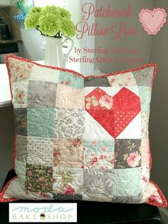 Patchwork pillow with heart