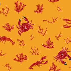 This Crustaceos wallpaper by Coordonne would look amazing in a bathroom or kitchen dining room. Featuring lobster, crab and coral in bold colourways it is perfect for a feature wall. Available in mustard yellow, bone white or marine blue. Embossed Wallpaper, Wallpaper Roll, Peel And Stick Wallpaper, Cool Wallpaper, Bedroom Wallpaper, Wallpaper Ideas, Designer Wallpaper Uk, Mustard Wallpaper, Tableaux D'inspiration
