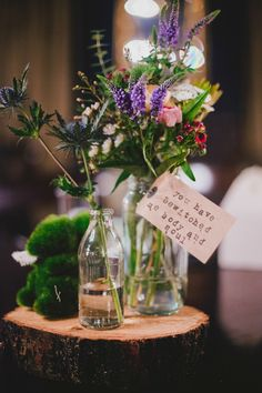 wildflower centerpieces with luggage tag quotes | www.onefabday.com