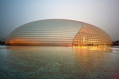 National Centre for the Performing Arts in Beijing designed by Paul Andreu Futuristic Architecture, Amazing Architecture, Architecture Design, Paul Andreu, Reflection And Refraction, Texture Design, French Artists, Art Projects