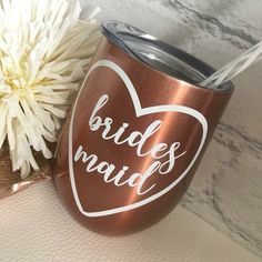 Bridesmaid Wine Glass/Bridesmaid Wine tumbler/Bridesmaid Proposal/Bridesmaid Gift/Wine Tumbler/Stainless steel tumbler/Bride To Be Gifts Bridesmaid Proposal, Bridesmaid Gifts, Wine Tumblers, Bride Gifts, Wine Glass, Stainless Steel, Drinks, Unique Jewelry, Handmade Gifts
