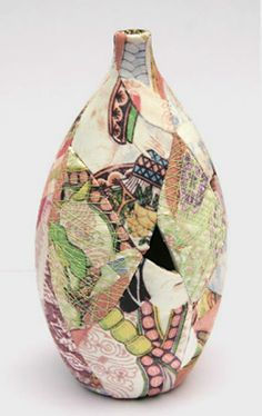zoe-hillyard-patchwork-pottery-Digital print fabric patchwork ceramic vessel – Zoe Hillyard. The missing fragment has been deliberately left out from the piece. 374x593