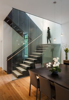 Modern Stairs // wood stairs with minimal glass wall at the Bridge House by Höweler+Yoon Architecture