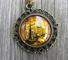 Pirate ship necklace  brass filigree  1 inch glass by MontanaMagic