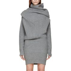 Long sleeve wool knit dress in grey. Ribbing throughout. Funnel neck. Ribbed cuffs and hem. Fitted skirt. Tonal stitching. 100% wool. Imported.