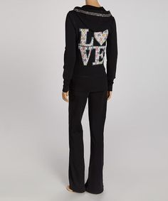 Look what I found on #zulily! Black & White Embellished 'Love' Zip-Up Hoodie & Lounge Pants by Sweet Girl #zulilyfinds