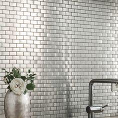 Edelstahl Mosaik Fliesen Silber 23x48x8mm