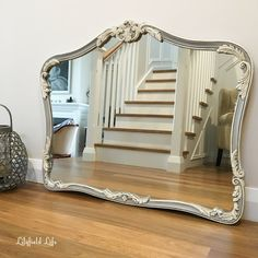 Vintage mirror painted in 2 coats of ASCP Paris Grey and then used a 50/50 mix of Pure White & Old White for the details. I then used clear & dark waxes to create an antiqued effect. If you want to see a video of a detailed tutorial on the same effect on how to do this with dark wax you can find one here. ~ Lilyfield Life: Beautiful painted mirrors ~ http://www.lilyfieldlife.com/2016/04/beautiful-painted-mirrors.html?m=1 ~ Lilyfield Life: Beautiful painted mirrors