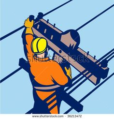 Power lineman at work - stock vector #lineman #retro #illustration