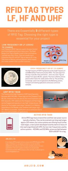 This Infographic provides you with a brief summary on the types of RFID tags on offer. Hopefully it will help you choose the right one for your project or Hobby. Choose The Right, Are You The One, Electromagnetic Spectrum, Radio Wave, What Type, Card Reader, Marketing, Iphone, Infographic
