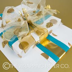 Wrapco, gold and teal gift wrapping. www.wrapco.com.au
