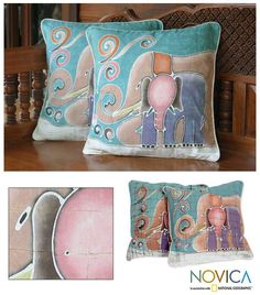 Baby elephant snuggles close to his mother on cushion covers. Working in batik, Alaya Cholprasertsuk creates modern Thai cushion covers.