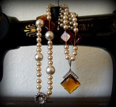 vintage amber & pearl necklace