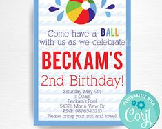 PrintPopPartyInstant on Etsy Beach Ball Birthday, Ball Birthday Parties, 2nd Birthday, Rsvp, Create Yourself, Boy Or Girl, Etsy Seller, Handmade Gifts, Party