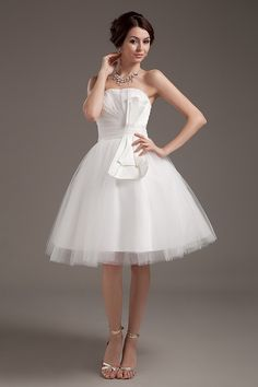 Tulle Strapless Modern Bridal Gown - Order Link: http://www.theweddingdresses.com/tulle-strapless-modern-bridal-gown-twdn3372.html - Embellishments: Ruffles; Length: Tea Length; Fabric: Tulle; Waist: Natural - Price: 148.81USD