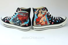 Bettie Page and Hot Rod 1934 on converse by atelierChloe