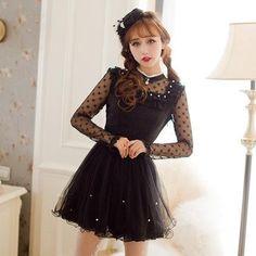 Japanese Fashion Black Chiffon Gauze Princess Dress SD01012