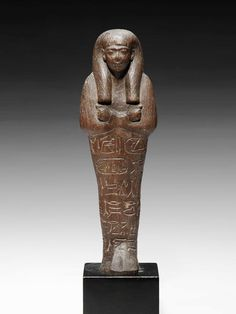 Egyptian Royal Ushabti of Seti I, New Kingdom, Ramesside Period, 19th Dynasty, Circa 1279 BC Seti I was the father of Ramesses II (the Great). The ushabti is depicted mummiform with the arms folded.