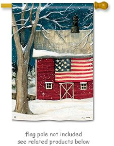 Winter Barn Flag By Artist Susan Winget For Breeze Art. The Snowy Night  Design Is