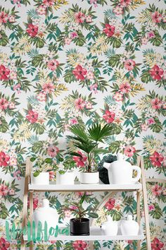 Seamless Hand Draw Tropical Flower Blossom Pattern - Removable Wallpaper - Plumeria Wall Sticker - Wall Decal - Jungle Self Adhesive Wallpaper