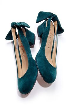 Block Heels and Bows in Teal