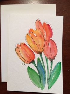 Spring Tulips Card / Hand Painted Watercolor Card by gardenblooms Watercolor Sunflower, Watercolor Cards, Watercolor And Ink, Watercolour Painting, Watercolor Flowers, Watercolors, Tulip Painting, Paint Cards, Watercolor Techniques