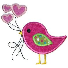 Valentine Bird Balloons Applique Design by SimplySweetEmbroider, $4.00