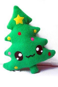 Fluse Kawaii Plush Chrismas Tree by on Etsy, Christmas Tree With Gifts, Felt Christmas, Christmas Crafts, Christmas Ornaments, Green Christmas, Merry Christmas, Felt Diy, Handmade Felt, Felt Crafts