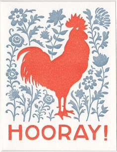 set of five HOORAY letterpress rooster cards. $18.00, via Etsy.