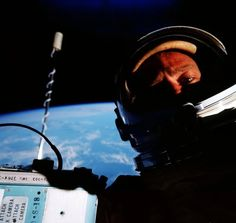 The first known space selfie by Buzz Aldrin during the Gemini 12 mission, 1966.