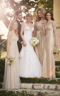 Fit and flare wedding dress with low-cut back by Essense of Australia D2147 / http://www.deerpearlflowers.com/sorella-vita-bridesmaid-dresses/3/