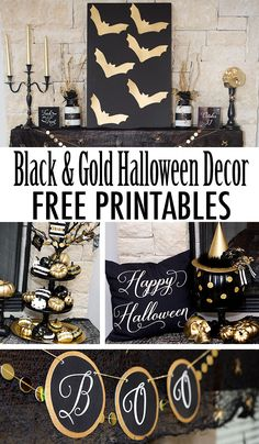 FREE Printables! Awesome Black and Gold Halloween Mantle free printables. These free prints work great to dress up your mantle this halloween! Great Halloween Party Prints!
