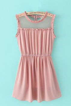 Super Cute Pink Sheer Mesh Splicing O-neck Sleeveless Chiffon Dress! Love Pink! So Sweet! #Love_Pink #Sheer_Mesh #Sweet #Summer #Fashion