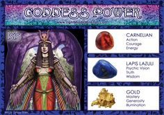 Goddess Power: Isis - Stones: Carnelian, Lapis Lazuli and Gold Isis Goddess, Egyptian Goddess, Moon Goddess, Crystals And Gemstones, Stones And Crystals, Artemis, Ancient Egyptian Deities, Magick, Witchcraft
