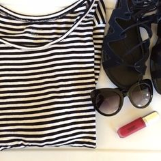 Striped tee Classic and cute! It's a black and white striped tee. Rounded neckline. The sleeves are about elbow length. Very soft and stretchy. 95% rayon and 5% spandex. Lane Bryant Tops Tees - Long Sleeve