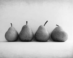 Four pears - Black and White Photography - food . kitchen . zen . Honeytre