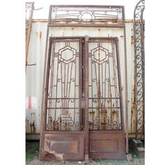 Art Deco Wrought Iron Doors | French Colonial Art Deco Iron Double Door Gates with Transom | Eron ...