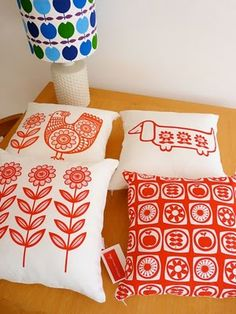 My screen printed cushions