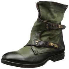Zapatos de mujer. Airstep 735206 - Botines de cuero mujer, color verde, talla 38