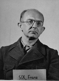 Mug-shot of defendant Franz Six at the Einsatzgruppen Trial
