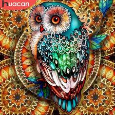 Yomiie Diamond Painting Mandala Owl Full Drill by Number Kits for Kids Adults, Colorful DIY Paint with Diamonds Art Rhinestone Embroidery Craft Decorations cm) Diamond Drawing, 5d Diamond Painting, Home Bild, Owl Embroidery, Mosaic Pictures, Beautiful Owl, Cross Paintings, Owl Paintings, Owl Art