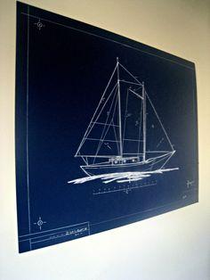 DIY Blueprint Art - The Lilypad Cottage