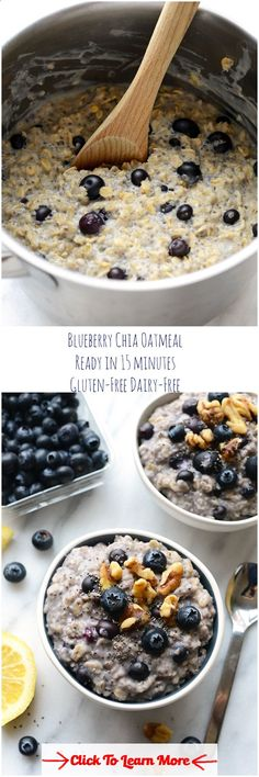 Blueberry Chia Oatmeal ~ Ready in just 15 minutes, this healthy breakfast is filled with fiber, antioxidants and omega-3-fatty acids. Perfect way to start your day! #health #fitness #weightloss #healthyrecipes #weightlossrecipes